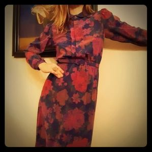 1970's fuschia floral dress w/matching belt